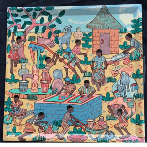 Painted Tray – Chakadini water pump