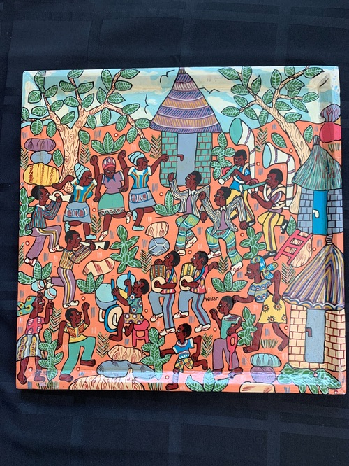 Zimbabwean Folk Art painted tray Kutsinhira Oregon
