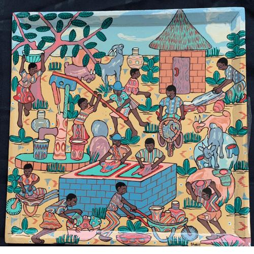 Zimbabwean Folk Art painted board Kutsinhira Oregon